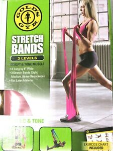 Gold's Gym Set of 3 Stretch Bands Light Medium Heavy Resistance with Guide NEW