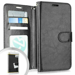 LG Tribute Royal - Black Leather Card Wallet Case Diary Pouch Holder Flip Cover