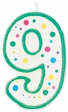 Wilton Green Polka Dots Number 9 Age Candle Children Birthday Party Decoration