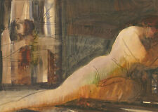 Karel Soucek (1915-1982) - Signed 1962 Monotype, Reclining Female Nude