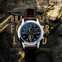 Military Leather Stainless Steel Quartz Analog Army Men Quartz Wrist Watches