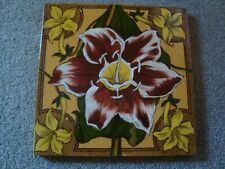 Pretty antique Lily ceramic tile   21/387Y