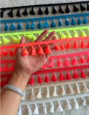 8 yards Multi colored tassel fringe trims cotton yarn Tassels Trim random mix