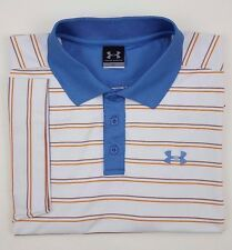 UNDER Armour LARGE Polo SHIRT Striped MENS Multicolor GOLF Size SZ White 1000439