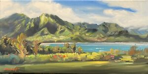 "Abbott Oil Canvas 10""x20"" Kauai Princeville Hanalei Bay With Koolau Mountains"
