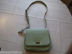 Fossil ZB5407314 Memoir Small Flap Pastel Green twist lock Leather purse NWT ^^