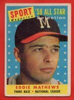 1958 Topps #480 Eddie Mathews VG CREASE HOF Milwaukee Braves FREE SHIPPING