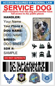 CUSTOMIZABLE SERVICE DOG  ID CARD FOR AIR FORCE VETERANS PVC & DIGITAL CARD