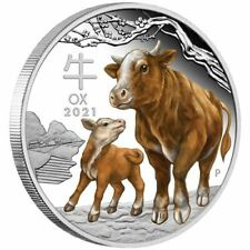 2021 LUNAR SERIES III YEAR OF THE OX 1 oz SILVER PROOF COLOR COIN  PERTH MINT