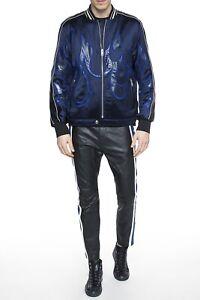 $985 Designer DIESEL Men's Slim Fit Stripes Zip Biker Leather Pants Trousers 32