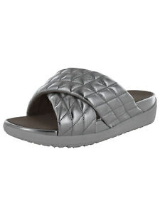 Fitflop Womens Loosh Luxe Cross Slide Metallic Leather Sandal Shoes