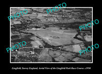 OLD POSTCARD SIZE PHOTO LINGFIELD SURREY ENGLAND AERIAL VIEW RACECOURSE 1950 1