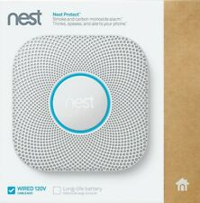 Google - Nest Protect 2nd Generation Smart Smoke/Carbon Wired Alarm S3003LWES