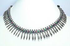 Handmade Sterling Silver Tribal Traditional Blue Green Red Onyx Necklace Earring
