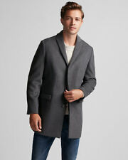 New EXPRESS MEN'S $298 Gray Recycled Wool Coat Topcoat Overcoat Topper Size XL