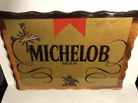 Michelob Beer Finished Gloss Wood Clock Sign Vintage Tested And Works
