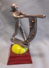 female softball trophy full color resin award swish batter on ball