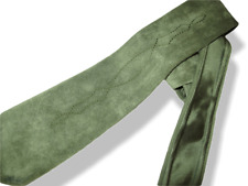 """Hermes Vintage 60s Green Suede Arabesques Tie Lined with Satin of Silk 3.94"""""""