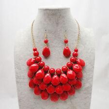 Women New Teardrop Bubble Bib Statement Chain Choker Necklace Drip Bead set