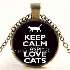 Vintage Keep Calm And Love Cat  Cabochon Glass Bronze Pendant Necklace