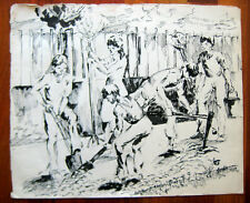 ANTIQUE RUSSIAN SOVIET PAINTING DRAWING 1952 YOUNG PIONEERS