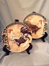 """Rooster 8"""" Plates w/wood stands  Ceramic  Carson Home Accents set/2   $14.99"""