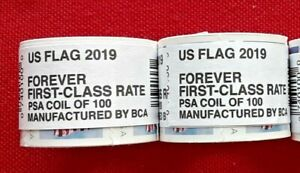 TWO (2) Rolls / Coils of 2019 US FLAG FOREVER by BCA 100 USA Stamps. Sc # 5343