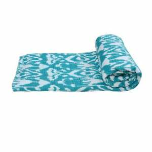Indian 100%Cotton Ikat Bedspread Coverlet Blanket Throw Kantha Quilts Bed Cover