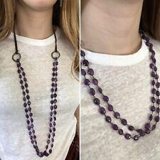 Love Heals Sweet Violet Amethyst Adjustable Leather Bronze Necklace NWT Ret $395