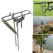 Stainless Steel Double Spring Fishing Rod Holder Rack w/ Auto Tip-Up Hook Setter