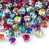 200pcs Mixed Color Crystal Glass Sew on Rhinestone Flatback Claw DIY Charms