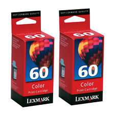 Lot (2) Lexmark 60 Color Ink Cartridges Genuine for Z12 Z22 Z32 IJ600 Printers