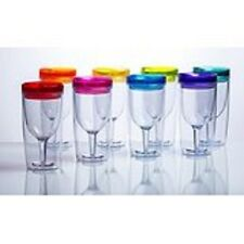 Wine Acrylic Glass Insulated Lid Goblet 8 Set Sippy Cup Picnic RV Outdoor Party