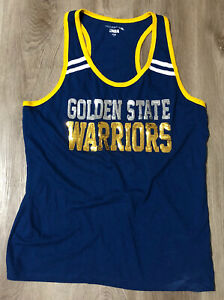 Golden State Warriors Womens Tank Top XL Blue Sequin 29 in. L 20 in. W NBA