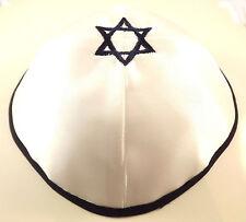 Blue White Star Of David Satin Yarmulke Kippah 20 cm Cupples Jewish Kippa Hat