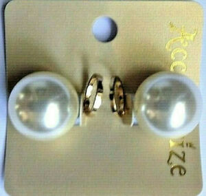ACCESSORIZE, LARGE PEARL FRONT BACK EARRINGS .