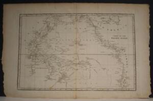 PACIFIC OCEAN AUSTRALIA JAMES COOK'S TRAVELS 1828 TANNER UNUSUAL ANTIQUE MAP
