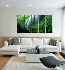 5 Piece Nature Landscape Forest Waterfall Canvas Wall Art Picture Print Decor