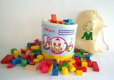 Wooden Toy Preschool 100 coloured Building Blocks in Tub with Calico bag