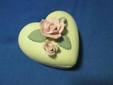 Bone China heart shaped trinket earring box - roses