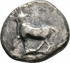 Ancient Greece  340-320 BC Thrace Byzantion Silver 1/2 Siglos Stier Incusum