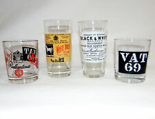 Vintage 70's Scotch Whisky Glasses (Set of 4) Different Makers Lables /Bar Glass