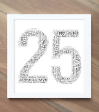 25Th Wedding Anniversary Gift! Silver Wedding Gift! Personalised Word Art Print!