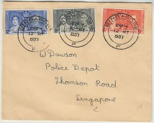 SINGAPORE 1937 *CORONATION* set of 3 on FDC sent to POLICE depot THOMSON ROAD