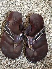 Abercrombie & Fitch Men's Size 11.5 12 Leather Flip Flop Sandals Shoes Brown