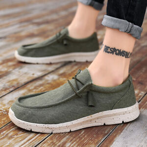 Men Lightweight Slip On Loafer Walking Casual Sneakers Canvas Lace Up Boat Shoes