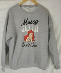"Women's  Large Disney Little Mermaid Ariel ""Messy Hair Don't Care"" Sweatshirt"