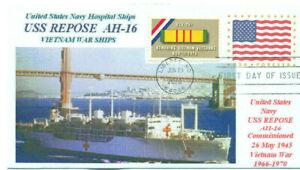 USS REPOSE AH-16 USN Vietnam War Hospital Ship Color Photo Cachet First Day PM