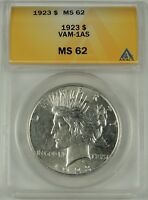 1923-P $1 Peace Silver Dollar VAM-1AS ANACS MS62 #5002481 TOP POP!! ONLY VAM-1AS
