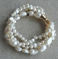 Perle Armband, 4 Stränge 5-10mm weiß barock Süßwasser-Perle Armband 8inch